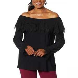NWT Antthony Pleated Ruffle Top Large Black